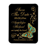Gold black butterfly wedding party rectangular photo magnet
