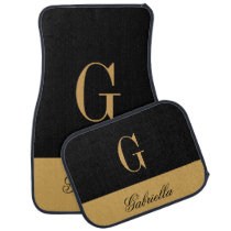 Gold Black Car Floor Mat