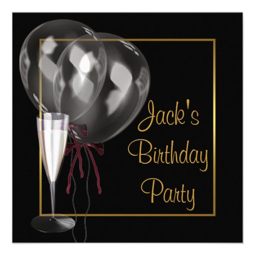 Gold Black Champagne Mans Birthday Party Custom Invitations
