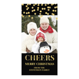 Gold Black Cheers Merry Christmas Confetti Photo Card