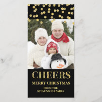 Gold Black Cheers Merry Christmas Confetti Photo Holiday Card