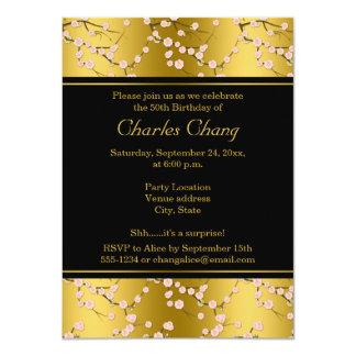 """Gold, Black Cherry Blossoms 50th Birthday Invite 4.5"""" X 6.25"""" Invitation Card"""