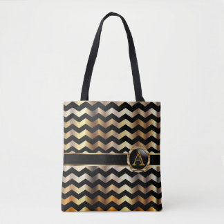 Gold & Black Chevron Monogram Design Tote Bag