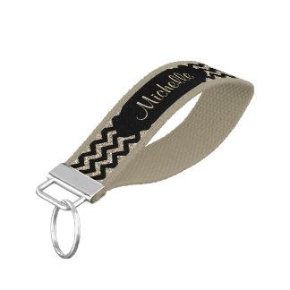 Gold Black Chevron Personalized Wrist Keychain