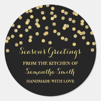 Gold Black Christmas Baking Sticker Confetti