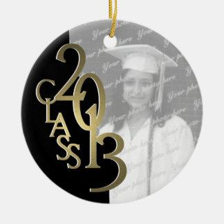 Gold Black Class 2013 Graduation Photo Ceramic Ornament