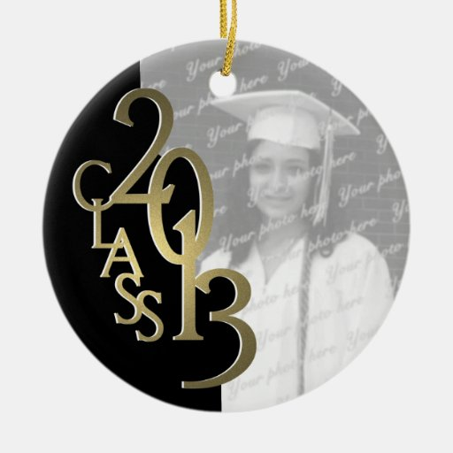 Gold Black Class 2013 Graduation Photo Double-Sided Ceramic Round Christmas Ornament