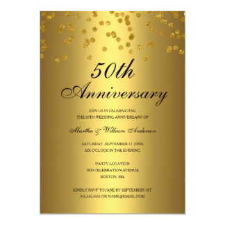 Gold Black Confetti 50th Wedding Anniversary Invitation
