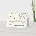 "Gold Black Confetti Brother Birthday Card<br><div class=""desc"">Birthday card for brother with gold and black modern confetti pattern.</div>"