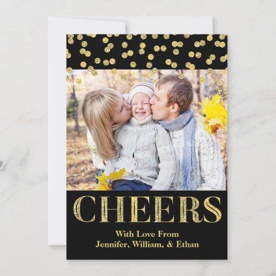 Gold Black Confetti Cheers Christmas Photo Card