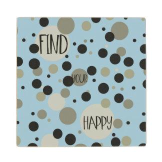 Gold Black Confetti Dots Happy Wooden Coaster