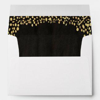 Gold Black Confetti Lined Envelope