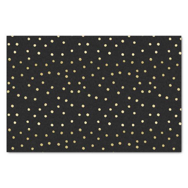 Gold & Black Confetti Polkadots Tissue Paper