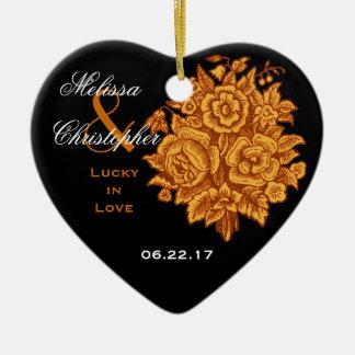 GOLD BLACK Custom Bride Groom Wedding Rose Bouquet Ceramic Ornament