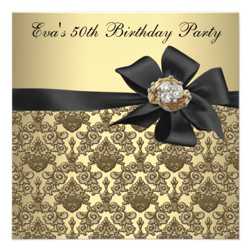Gold Black Damask 50th Birthday Party Custom Announcement (front side)