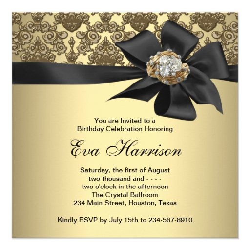 Gold Black Damask 50th Birthday Party Custom Announcement (back side)