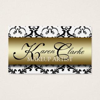 Gold Black Damask Makeup Artist Business Card