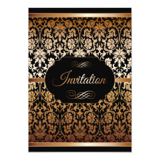 Gold & Black Damask Party Templates Card