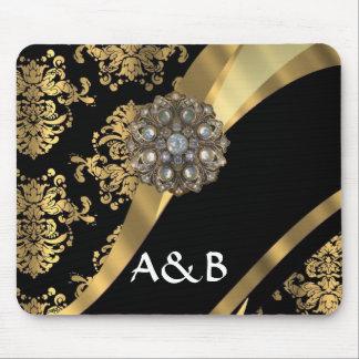 Gold & black damask pattern mouse pad