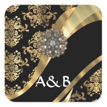 Gold & black damask pattern square sticker