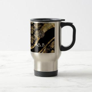 Gold & black damask pattern travel mug