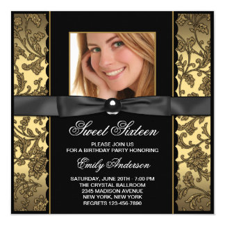 Gold Black Damask Photo Sweet 16 Party 5.25x5.25 Square Paper Invitation Card