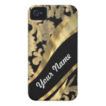 Gold & black damask swirl Case-Mate iPhone 4 cases