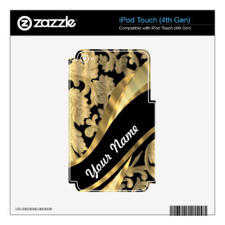 Gold & black damask swirl decals for iPod touch 4G