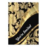 Gold & black damask swirl 5x7 paper invitation card