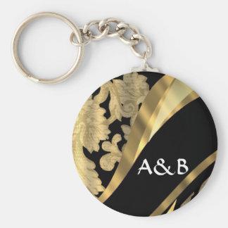 Gold & black damask swirl keychain