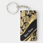 Gold & black damask swirl Double-Sided rectangular acrylic keychain