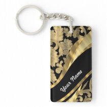 Gold & black damask swirl keychain