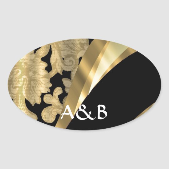 Gold & black damask swirl oval sticker