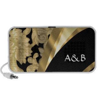 Gold & black damask swirl portable speaker