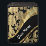 """Gold &amp; black damask swirl sleeve for iPads<br><div class=""""desc"""">PERSONALIZE this chic elegant stylish floral flowery antique vintage gold damask lace pattern on a black background and a golden modern swirl design ribbon  ,  with your own text,  name or monogram,  initials  .  CUSTOMIZE Use the CUSTOMIZE BUTTON  to adjust the text,  size,  font position by drag and drop.</div>"""