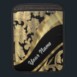 "Gold &amp; black damask swirl sleeve for iPads<br><div class=""desc"">PERSONALIZE this chic elegant stylish floral flowery antique vintage gold damask lace pattern on a black background and a golden modern swirl design ribbon  ,  with your own text,  name or monogram,  initials  . 