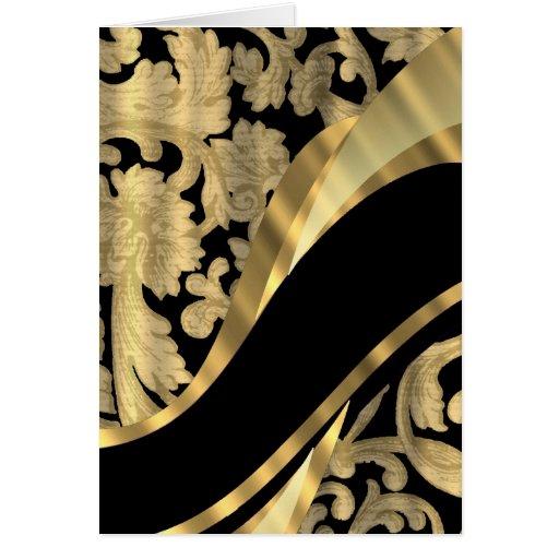 Gold & black damask swirl stationery note card
