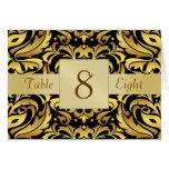 Gold & Black Damask Table Number Folded Card