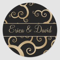 Gold Black Damask Wedding Invitations Classic Round Sticker
