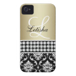 Gold Black Damask, Your Name Monogram iPhone 4 Cases