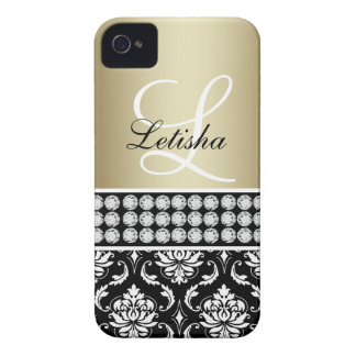 Gold Black Damask, Your Name Monogram iPhone 4 Cover