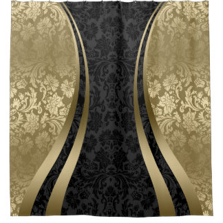 Black And Gold Stripes Shower Curtains Zazzle