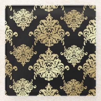 gold,black,damasks,pattern,floral,vintage,victoria glass coaster
