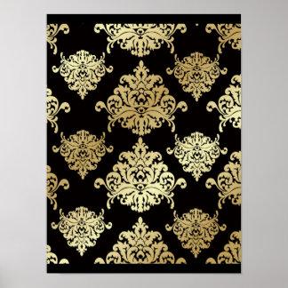 gold,black,damasks,pattern,floral,vintage,victoria poster