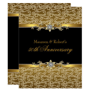 Gold Black Diamond 50th Anniversary Invitation