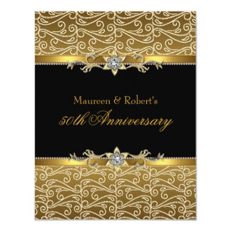 Gold & Black Diamond 50th Anniversary Invitation