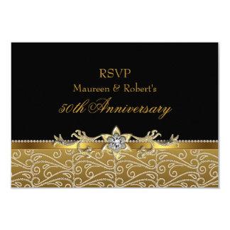 Gold & Black Diamond 50th Anniversary RSVP Card