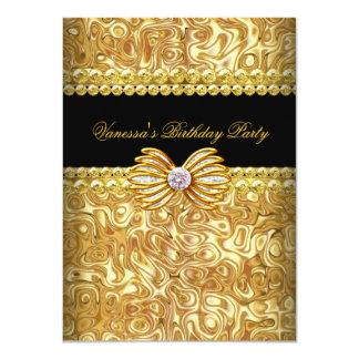 Gold Black Diamond Bow Birthday Party 4.5x6.25 Paper Invitation Card