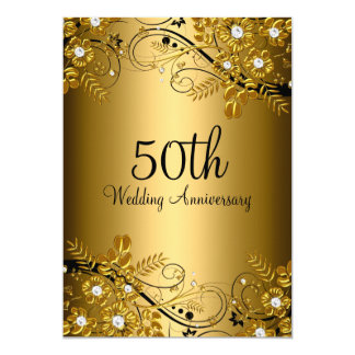 Gold Black Diamond Floral Swirl 50th Anniversary Card