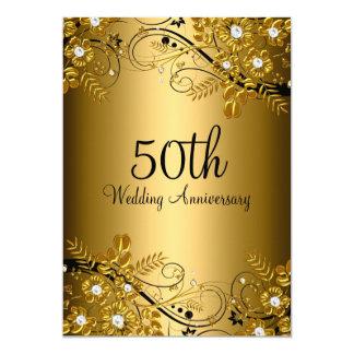 Gold Black Diamond Floral Swirl 50th Anniversary Card
